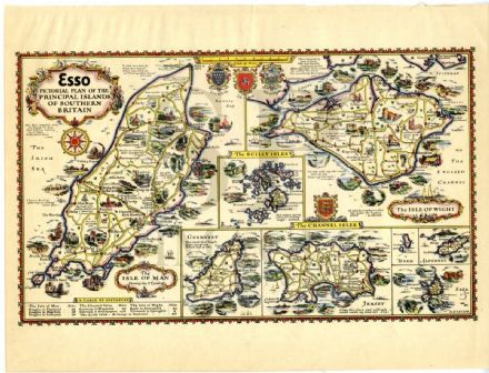 1932 Map ESSO PICTORIAL PLAN ISLE OF MAN Wight JERSEY Guernsey SARK Alderney etc.
